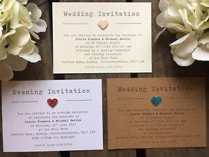 Evening Invitations Cheap Personalised Rustic Glitter heart Wedding