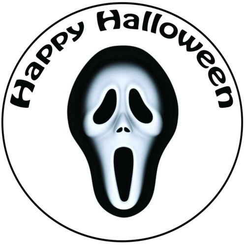 "Halloween Scream Mask Cake Topper Pre-cut Round 8/"" 20cm Icing Decoration"