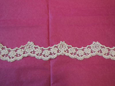 Ivory Embroidered Floral lace trim / Bridal Wedding cotton lace trim. Per Yard