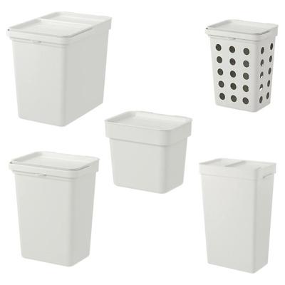 Müll & Abfalleimer IKEA KNODD Tonne mit Deckel; in weiß