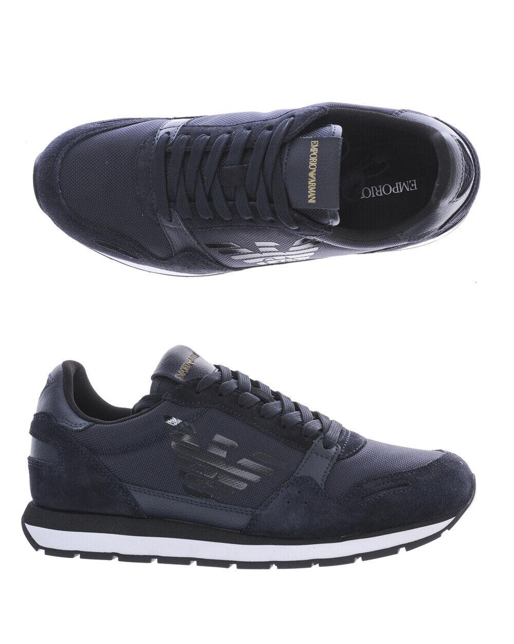 Emporio Armani Chaussures Baskets Cuir Homme Bleu X4X215 XL198 T370