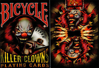 INVISIBLE KILLER CLOWNS BICYCLE DECK OF PLAYING CARDS USPCC MAGIC TRICKS GAFF