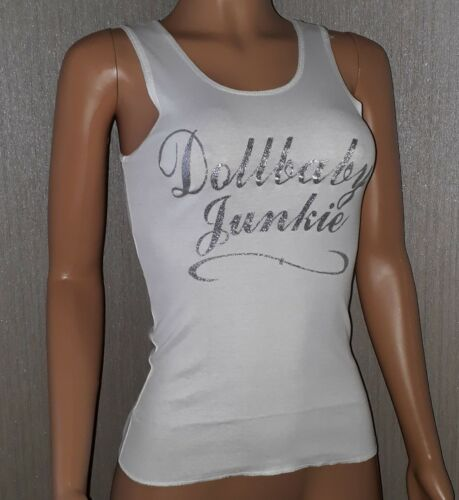 1 amp; Dollbaby Tank Vest Wheels Racer 6 Fitted Glitter 8 White Back Top Bnwt Uk Pdw85wq