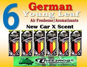 6 Packs Treefrog YOUNG LEAF GERMAN FLAG  Car Air Freshener - NEW CAR Scent
