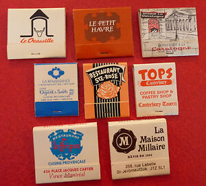 Rare-Vintage-Match-Book-Lot-of-8-French-Canadian-Hawaii-Restaurants-Bistro