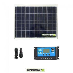 Kit-Solare-Fotovoltaico-pannello-100W-12V-Regolatore-PWM-10A-Camper-Nautica-Illu