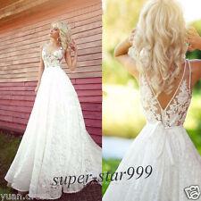 New White/Ivory Lace Bridal Gown Wedding Dresses Custom Size 6 8 10 12 14 16 18+