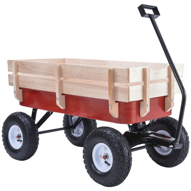 BN 330LB ALL Terrain Pulling Outdoor Wood Wagon Garden Cart Children Red  Railing