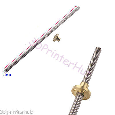 OD8mm Threaded Rods Lead Screw with Flange Copper Nut For CNC 3D Printer Z Axis