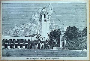 1946-Artist-Signed-Hadwall-Giant-Postcard-Bishop-School-La-Jolla-California-CA