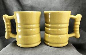 TWO-Vintage-Frankoma-Pottery-C3-4-034-Barrel-Mugs-Cups-Autumn-Yellow-MCM-Nice-Glaze