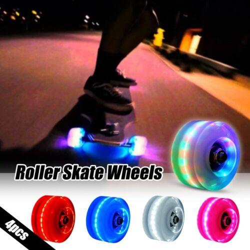4PC Luminous Light Up Quad Roller Skate Wheels with BankRoll Bearings Installed