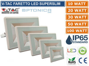 V-TAC-OPTONICA-FARO-FARETTO-LED-SMD-10W-20W-30W-50W-100W-ULTRA-SLIM-IP65-BIANCO