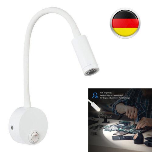 3W LED Spot Bettleuchte Leselampe Wandlampe Schwanenhals Wohnzimmer Weiß DE