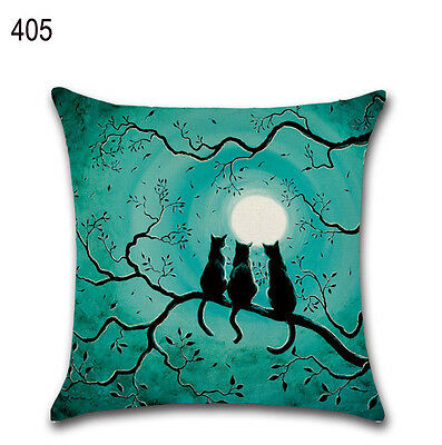 "Halloween Old House Pumpkin Cat Cotton Linen Pillow Case Throw Cushion Cover 18"""
