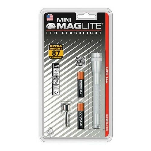 Maglite SP32106 2 Cell Aaa Mini LED Flashlight Silver-Blister Pack