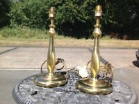 Vintage Matching Pair Brass Effect Metal Candlestick Table Lamps BHS