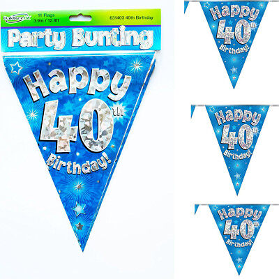 Happy 10th Birthday Blue Holographic Foil Party Bunting 3.9m Long 11 Flags