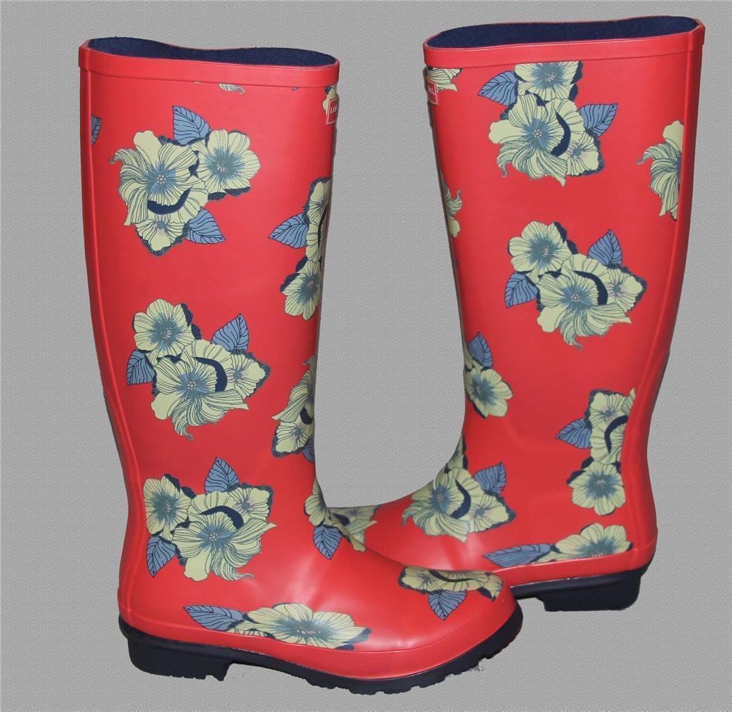 en stock London Fog Thames salmón Color Floral Alto Alto Alto Goma botas de lluvia con talón WMS 7 Nuevo  artículos de promoción