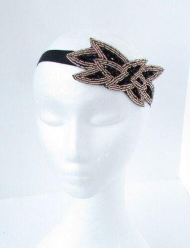 Black and Gold Beaded Leaf Elastic Headband 1920s Great Gatsby Flapper Vtg 6790
