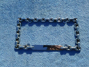 HEAVY DIE CAST METAL CHROME CHAIN LINK LICENSE PLATE COVER FRAME