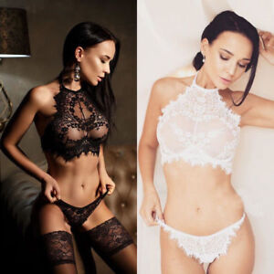 383414b336 Women s Sexy Lingerie Lace Flowers Push Up Top Bra Pants Wire Free ...