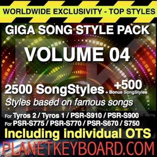SONG STYLES POUR YAMAHA PSR-S975 S970 PSR-SX GIGA PACK VOL 04 3000 SONGSTYLES