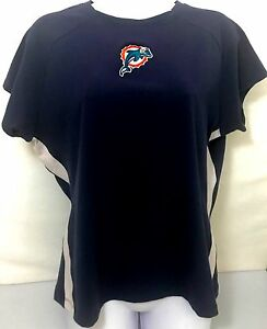 buy popular b5776 d5b96 Details about Miami Dolphins T Shirt Reebok Embroidered Logo Navy Blue  Womens XL
