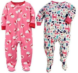 29be6f6cff36 NWT Baby Girl CARTER S 2 Pack Fleece Christmas Pajamas Size 2T