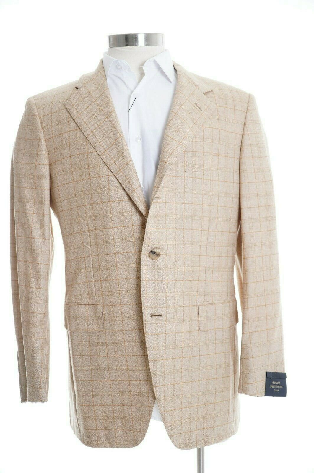 K Sartoria Partenopea  42R 100% Wool golden Brown Plaid Canvassed Blazer