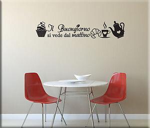 Adesivi murali frase colazione cucina decorazioni da parete wall sticker ws1230a ebay - Adesivi da parete per cucina ...