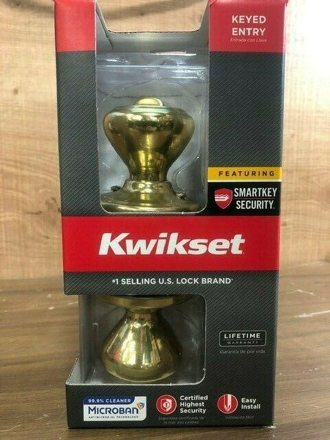 Kwikset Signature Series Cameron Keyed Entry Knob Polished Brass 740CN3 #7cp