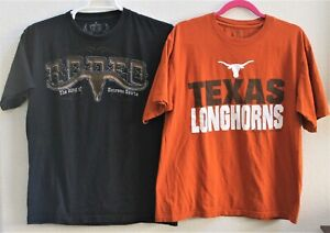 Lot-of-2-Rodeo-Texas-Longhorn-Cowboy-Sz-Large-Graphic-T-Shirt-Mens-Shorts-Sleeve