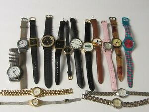 Junk-Drawer-Lot-of-16-Watches-for-Parts-amp-Repair