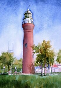 St. Johns River Lighthouse, Florida. Watercolor Notecards