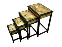 Oriental Furniture - Gold Lacquer Nest Of Tables Crane Design