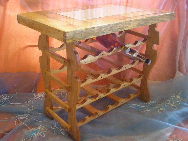 BOTELLERO XL, artesanal. Encimera de madera y Blauejo, 24 bot. casi 1 m. long