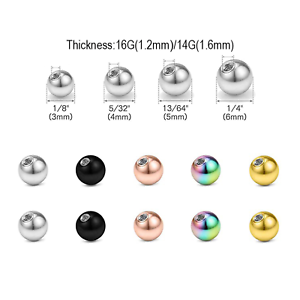 10X Stainless Steel Replacement Ball Internal Thread Ear Nose Barbell Spare Bead