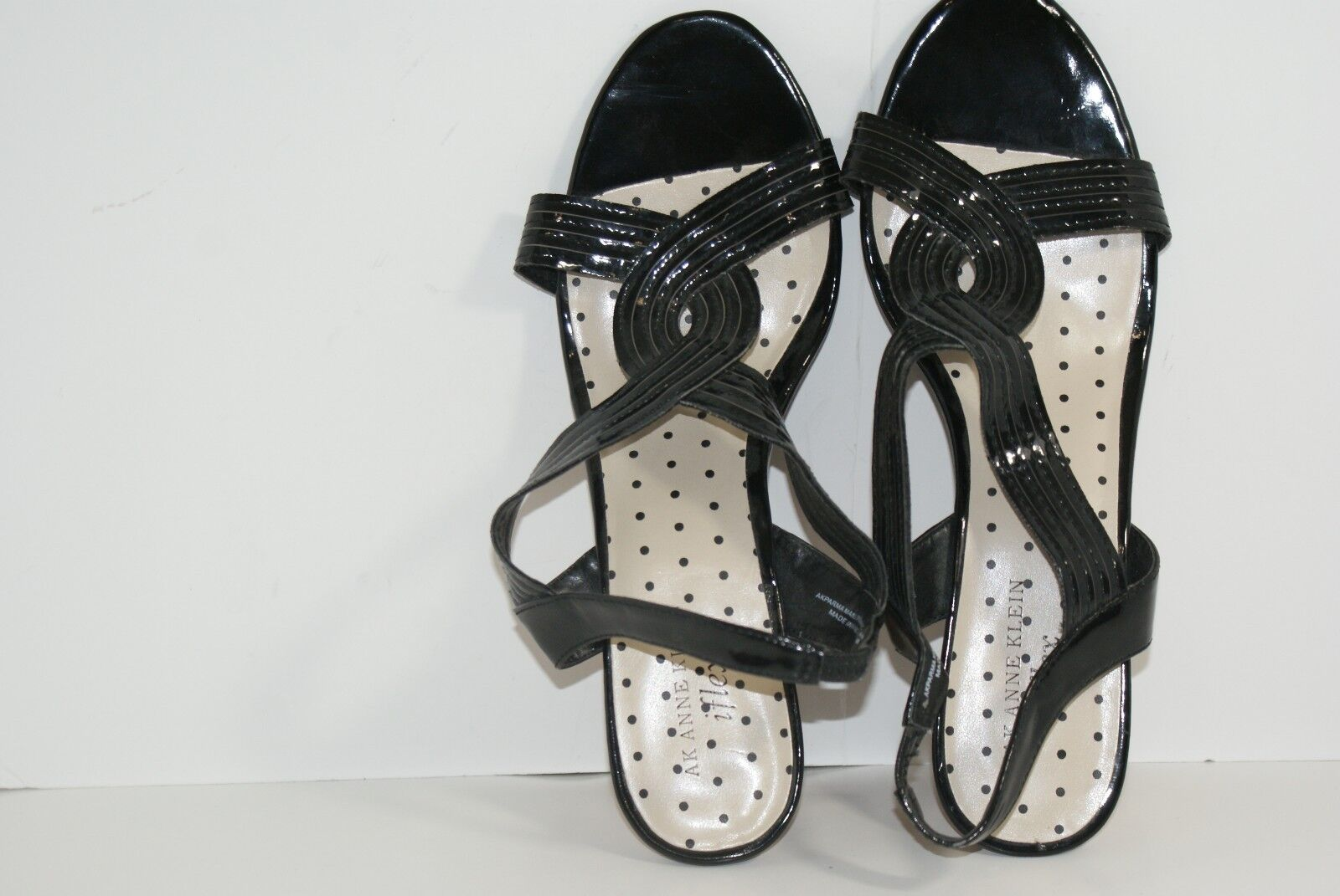 AK Anne 9.5 Klein Women's Iflex Sandals 9.5 Anne M AkPARMA Black Slingback Shoes 951907