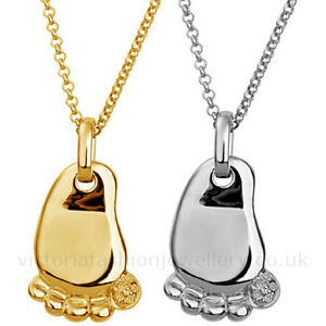 Baby footprint necklace in silver or gold plate christening pendant image is loading baby footprint necklace in silver or gold plate aloadofball Choice Image