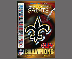 e39e5e6a Details about New Orleans Saints SUPER BOWL XLIV GLORY NFL Championship  Commemorative POSTER