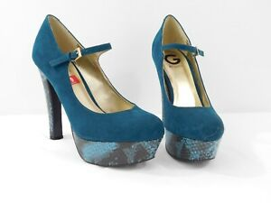 G-by-Guess-Womens-Teal-Velvet-Snake-Skin-Platform-High-Heels-T-Strap-Size-9M