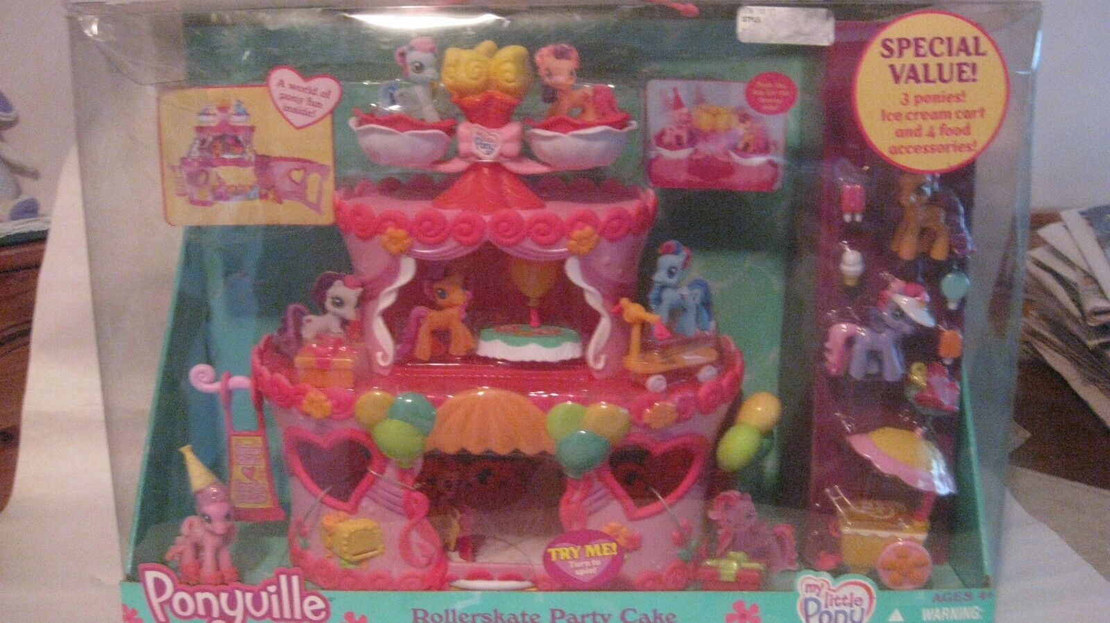My Little Pony Ponyville Patines Fiesta Tarta con rosadoie Pie Hasbro Nuevo T56