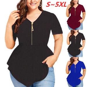 Women-Plus-Size-V-Neck-Short-Sleeve-Zipper-Blouse-Ladies-Summer-Loose-Shirt-Tops