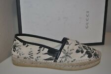 NIB GUCCI PILAR Floral Print Canvas Espadrilles Flats Shoes Womens 7 Black Ivory