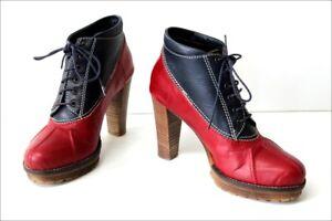 trouver le prix le plus bas remise pour vente check-out Details about Minelli Boots Lace Leather Bicolour Red & Blue Hauts Heels T  37