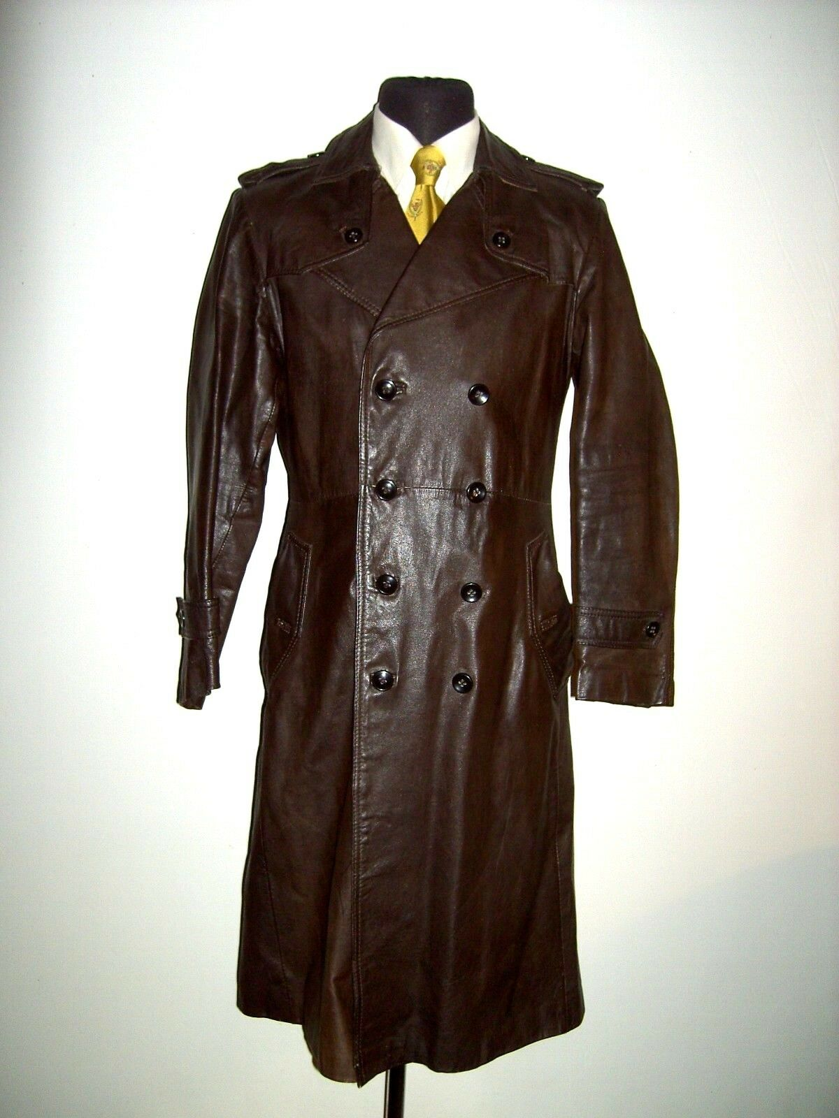 VTG MILITAR OFFICER LONG TAN LEATHER DOUBLE BREASTED COAT TRENCH MAC 40