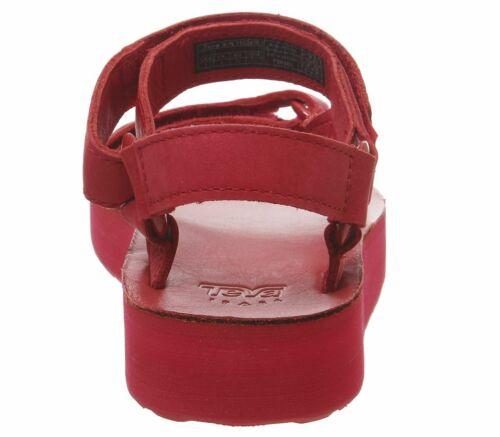 Womens Teva Midform Universal Leather Sandals Red Sandals