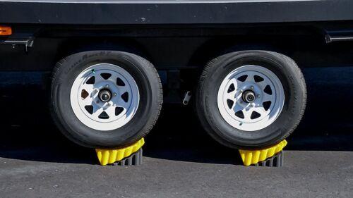 Curved Leveler Chock 2 Pack 30K Lb Tandem Wheel Tire RV Trailer Stabilizer Block
