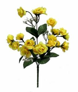 20 mini open roses yellow wedding favors centerpieces silk flowers image is loading 20 mini open roses yellow wedding favors centerpieces mightylinksfo
